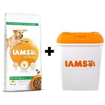 IAMS Dog Adult Large Chicken 12 kg + IAMS Dog nádoba na krmivo 15 kg