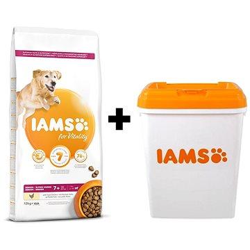 IAMS Dog Senior Large Chicken 12 kg + IAMS Dog nádoba na krmivo 15 kg