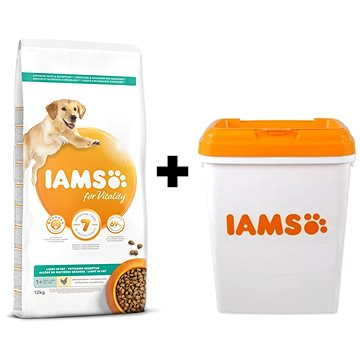 IAMS Dog Adult Weight Control Chicken 12 kg + IAMS Dog nádoba na krmivo 15 kg