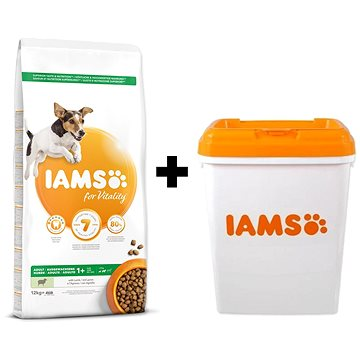 IAMS Dog Adult Small & Medium Lamb 12 kg + IAMS Dog nádoba na krmivo 15 kg