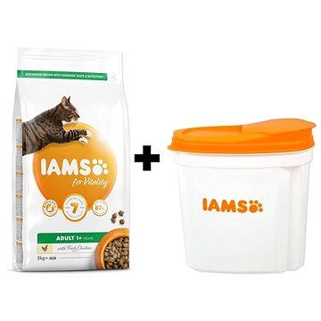 IAMS Cat Adult Chicken 2 kg + IAMS Cat nádoba na krmivo 2 kg