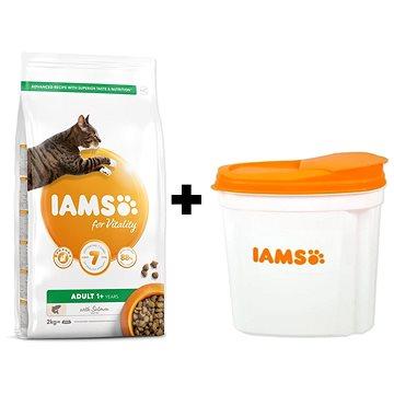 IAMS Cat Adult Salmon 2 kg + IAMS Cat nádoba na krmivo 2 kg