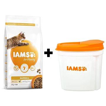 IAMS Cat Adult Hairball Chicken 2 kg + IAMS Cat nádoba na krmivo 2 kg