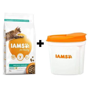 IAMS Cat Adult Weight Control/Sterilized Chicken 2 kg + IAMS Cat nádoba na krmivo 2 kg