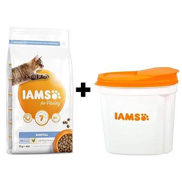 IAMS Cat Adult Dental Chicken 2 kg + IAMS Cat nádoba na krmivo 2 kg