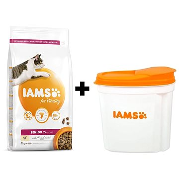 IAMS Cat Senior Chicken 2 kg + IAMS Cat nádoba na krmivo 2 kg