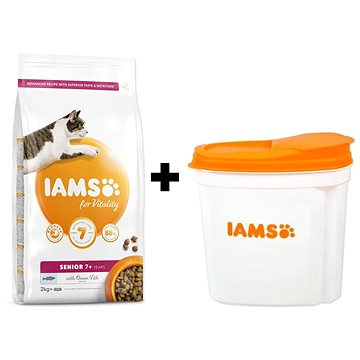 IAMS Cat Senior Ocean Fish 2 kg + IAMS Cat nádoba na krmivo 2 kg