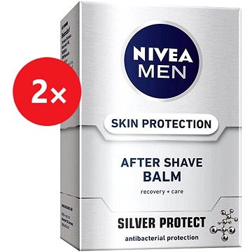 NIVEA Men After Shave Balm Silver Protect 2× 100 ml