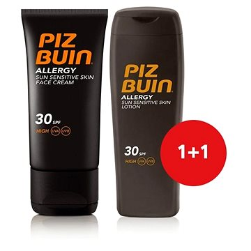 Sada PIZ BUIN Allergy Sun Sensitive Skin Lotion SPF30 + Piz Buin Allergy Sun Sensitive Skin Face Car