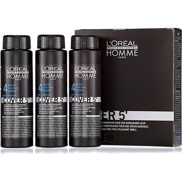Barva na vlasy ĽORÉAL PROFESSIONNEL Homme COVER 5 4 3 x 50 ml (4 - středně hnědá) (3474634006474)
