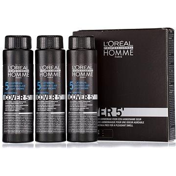 Barva na vlasy ĽORÉAL PROFESSIONNEL Homme COVER 5 5 3 x 50 ml (5 - světle hnědá) (3474634006481)