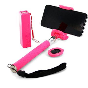 Xlayer Selfie-Stick + Powerbanka 2600 mAh růžový (IS-PB106-P/Z06-5 (pink))