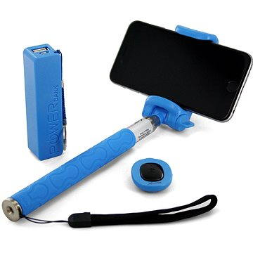 Xlayer Selfie-Stick + Powerbanka 2600 mAh modrý (IS-PB106-P/Z06-5 (blue))