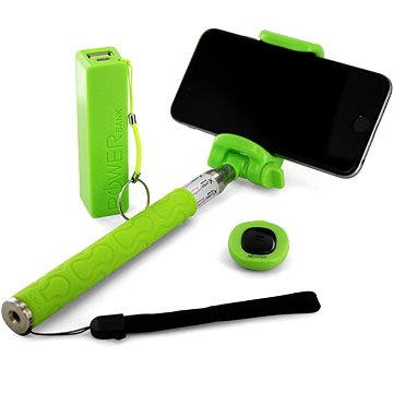 Xlayer Selfie-Stick + Powerbanka 2600 mAh zelený (IS-PB106-P/Z06-5 (green))