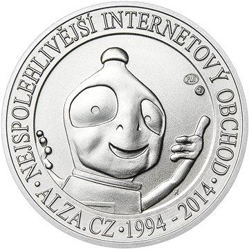 Stříbrná pamětní mince Alza pamětní stříbrňák 20 let Alza.cz 1/2 Oz, hmotnost 16g (ALZ-MEDAL-20-1/2OZ)