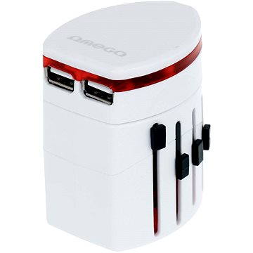 Omega 220-250V, US+EU+UK zástrčka, 2x USB (OTRA2)
