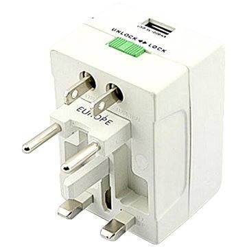 Omega 220-250V, US+EU+UK zástrčka, 1x USB (OTRA1U)
