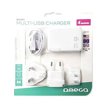 Omega 220-250V, US+EU+UK zástrčka, 4x USB (OMCUSB4UEU)