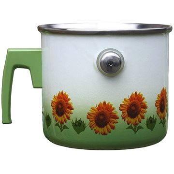Metalac smaltovaný mlékovar, dekor slunečnice (D7-16-4N)