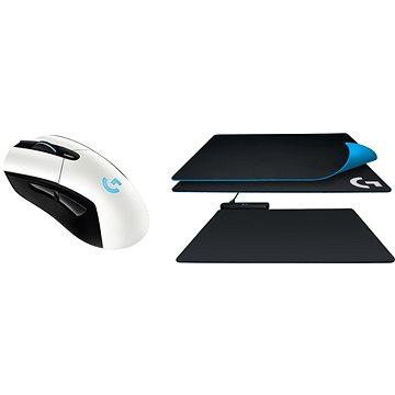 Logitech G703 LIGHTSPEED bílá + PowerPlay podložka