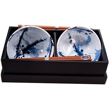 Made In Japan Set misek Blue & White s hůlkami 500 ml 2 ks (C0315)