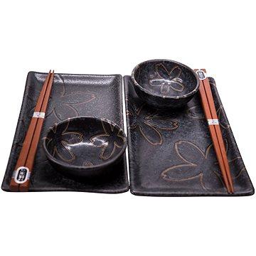 Made In Japan Sushi set s květinovým motivem černý 6 ks (C0304)