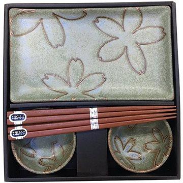 Made In Japan Sushi set s květinovým motivem světle zelený 6 ks (C0305)