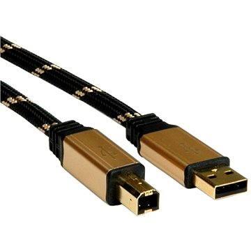 ROLINE Gold USB 2.0 A-B, 3m - černo/zlatý (11028803)