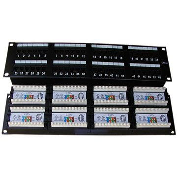 Datacom, 48x RJ45, přímý, CAT5E, UTP, černý, 2U, LSA (3003)