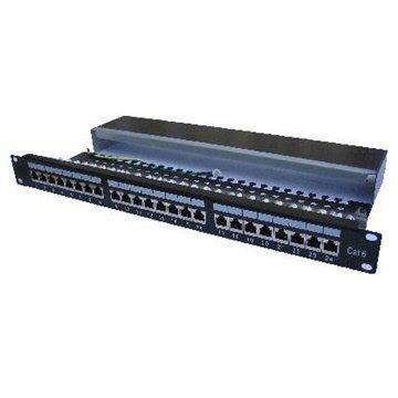 Datacom, 24x RJ45, přímý, CAT6, STP, černý, 1U (3121)