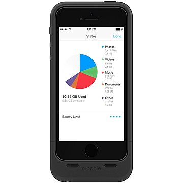 Mophie spacepack battery case with Built-in 64GB storage iPhone 5/5s/SE black (2830_SP-IP5-64GB-BLK)