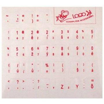 Přelepky na klávesnici, česko-slovenské červené (ENNC010M0L)