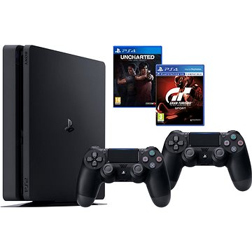 PlayStation 4 1TB Slim + Gran Turismo Sport + Uncharted Lost Legacy + extra DualShock 4 (PS719348870)