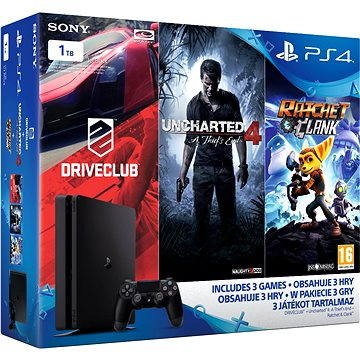 Sony Playstation 4 - 1TB Slim + 3 hry ( Uncharted 4, Driveclub, Ratchet and Clank) (PS719805465) + ZDARMA Bezdrátový ovladač Sony PS4 Dualshock 4 - V2 (Black)