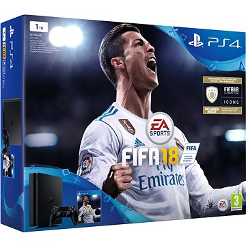 PlayStation 4 1TB Slim + FIFA 18 (PS719913269) + ZDARMA Časopis PlayStation Magazín Figurka Cristiano Ronaldo