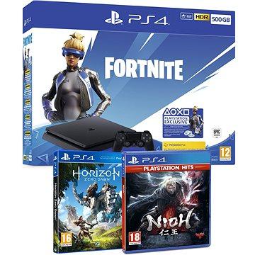PlayStation 4 Slim 500GB + Fortnite + Nioh + Horizon Zero Dawn