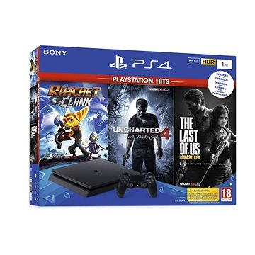 PlayStation 4 1TB Slim + 3 hry (The Last Of Us, Uncharted 4, Ratchet and Clank) (PS719719519)