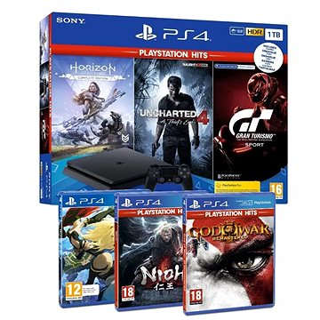 PlayStation 4 Slim 1TB + 6 her (GTS, Uncharted 4, Horizon Zero Dawn, GOW III, Gravity Rush 2, Nioh )
