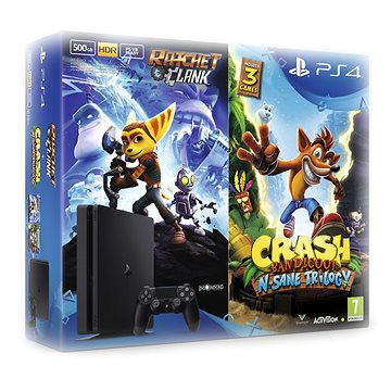 PlayStation 4 - 500GB Slim + 2 hry: Crash Bandicoot N. Sane Trilogy + Ratchet&Clank (PS719867364) + ZDARMA Časopis PlayStation Magazín