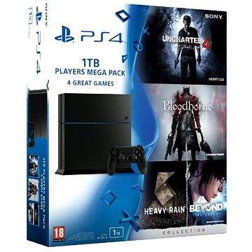 Sony Playstation 4 - 1TB Players Megapack - 4 hry (PS719829355) + ZDARMA Bezdrátový ovladač Sony PS4 DualShock 4 (Black)