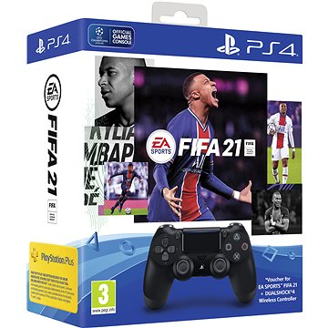 Sony PS4 Dualshock 4 V2 - Black + FIFA 21 (PS719834724)