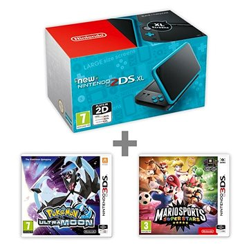 Nintendo NEW 2DS XL Black & Turquoise + Pokémon Ultra Moon + Mario Sports Superstars