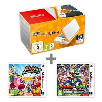 Nintendo NEW 2DS XL White & Orange + Kirby Battle Royale + Mario & Luigi: Superstar Saga