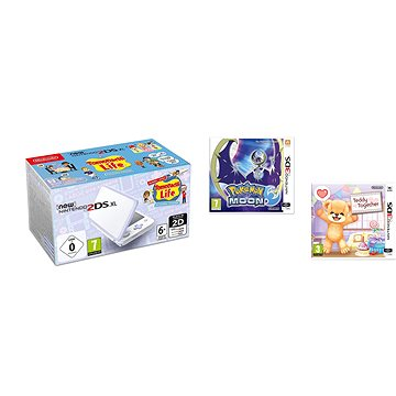 Nintendo NEW 2DS XL White & Levander Green + Tomodachi Life + Pokémon Moon + Teddy Together (8595142718262)