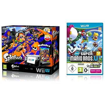Nintendo Wii U Premium Pack Black + Splatoon + New Super Mario and Luigi