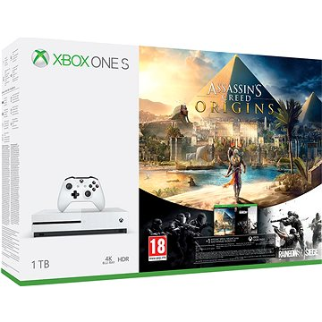 Xbox One S 1TB Assassins Creed: Origins + Rainbow 6: Siege (234-00235)