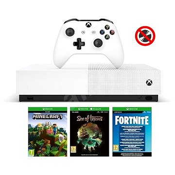 Xbox One S 1TB All-Digital + 3 hry (Fortnite, Minecraft, Sea of Thieves ) (NJP-00059)