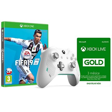 Xbox One Wireless Controller Sport White + FIFA 19 + Xbox Live 3 Month Gold