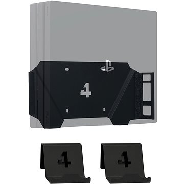 4mount - Wall Mount for PlayStation 4 Pro Black + 2x Controller Mount (5907813300882)