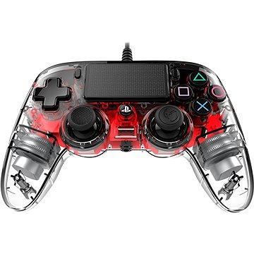 Nacon Wired Compact Controller PS4 - průhledný červený (PS4OFCPADCLRED)
